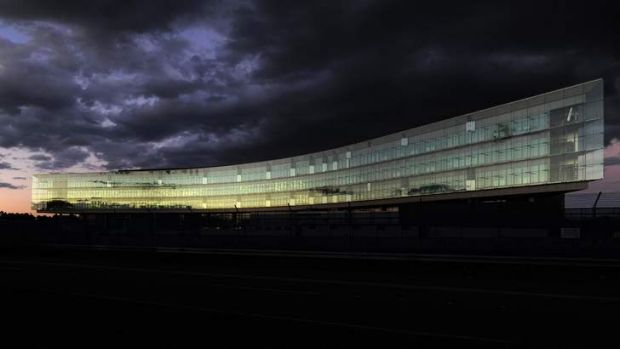 The new ASIO building at night.