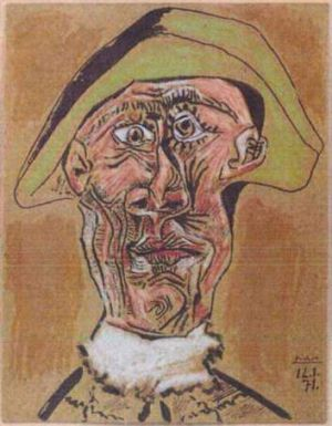 Dutch police handout of Pablo Picasso's painting <i>Tete d'Arlequin</i> stolen during a break-in at Rotterdam's Kunsthal ...