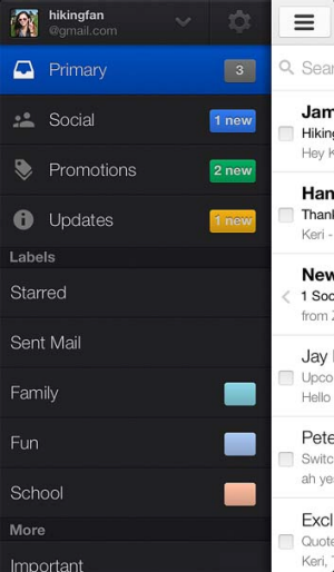 How the new Gmail layout will look on iPhone.