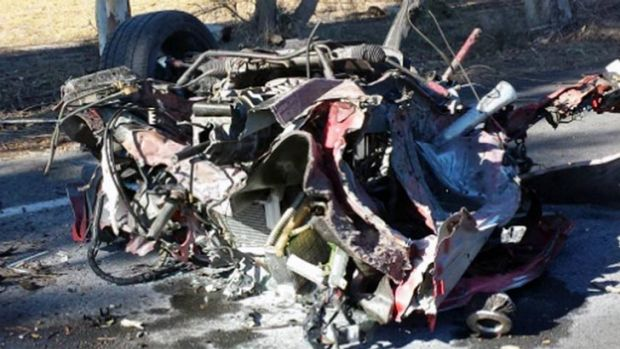 The car that was torn in two on Layman Road.