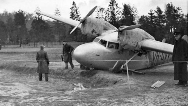 HARD LANDING: A Gannet which crashed at Gosford in 1937. It suffered less damage than the one that made a forced landing ...