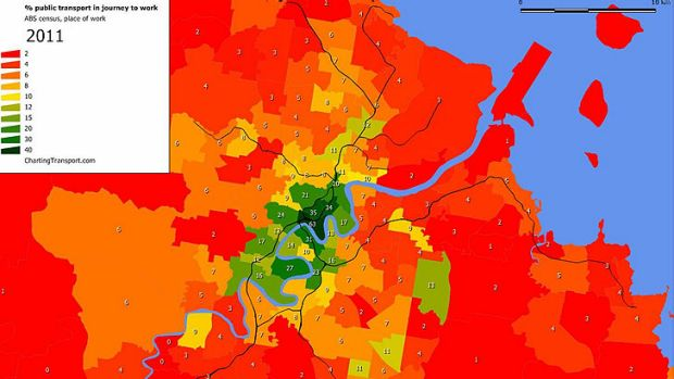 Where people travel to work (darker green denotes a higher percentage). Source: Chartingtransport.com