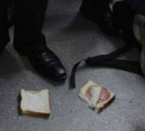 The salami sandwich  that was thrown at Prime Minister Julia Gillard when she visited visited Lyneham High School.
