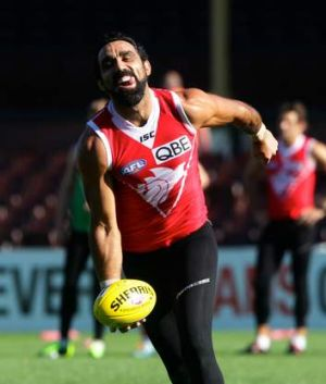 Smiling Swan: Adam Goodes trains with Sydney at the SCG on Thursday.