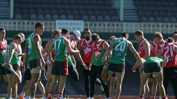 Back to work: Adam Goodes got his mind back on football on Thursday, training with his teammates at the SCG.