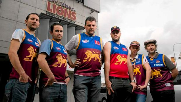 Lions fans, including Adam Staines, Sheldon Peters, James Kliemt, Phil Harsant, Kerryn Wick and Steve Ripper, fought for ...
