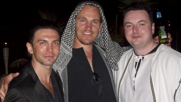An undated photo of Henry Kaye, Jamie McIntyre and Konrad Bobilak at a fancy dress party.