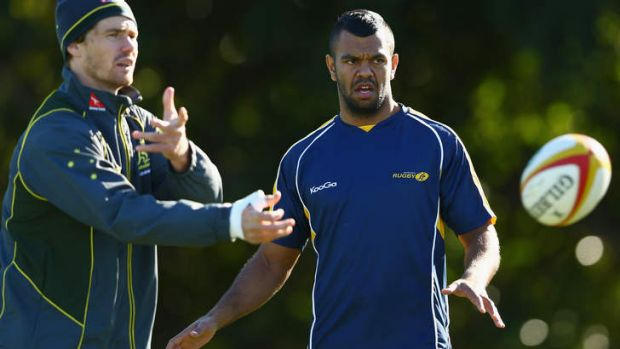 Back in the fold: Kurtley Beale trains with the Wallabies.