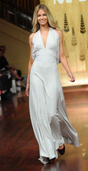 In white: Jennifer Hawkins modelling Myer Autumn Winter 2012 Collection Parade at Mural Hall in Melbourne.
