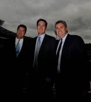 Hamish McLennan, James Sutherland and David Gyngell at the announcement of the cricket TV rights deal on Tuesday.