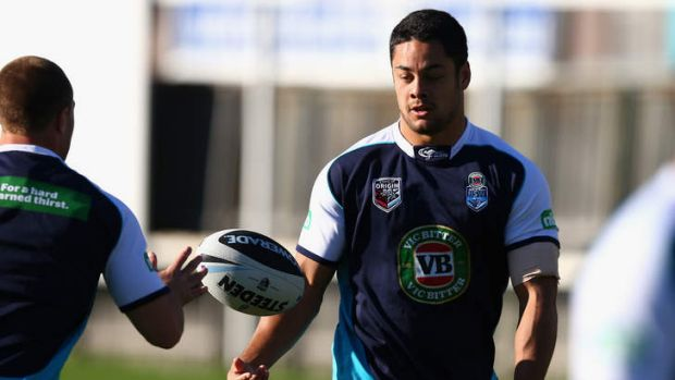 Resolute: Jarryd Hayne will need to call on his goal line defence against the Maroons.