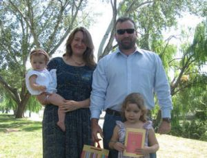 All together … (from left) Jem, Beth, Matt and daughter Peri in 2008.