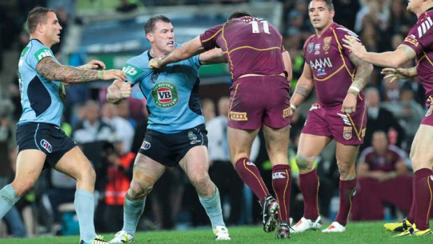 It's a blue: Nate Myles and Paul Gallen go the knuckle.