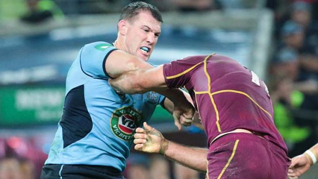 Swing and a hit:  Paul Gallen scraps with Nate Myles.