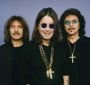 Back in black: Tony Iommi (right), Ozzy Osbourne and Geezer Butler.