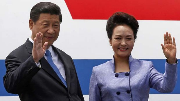 Centre stage: China's President Xi Jinping and his wife Peng Liyuan.