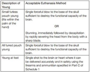 From the Animal Welfare (Humane Shooting of Kangaroos and Wallabies) Code of Practice 2013.