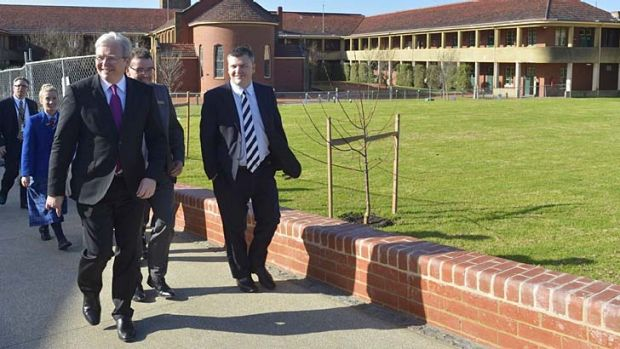 Kevin Rudd visits Christian College in Geelong on Friday.