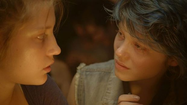 Adele Exarchopoulos and Lea Seydoux in a scene from <i>Blue is the Warmest Colour</i>.