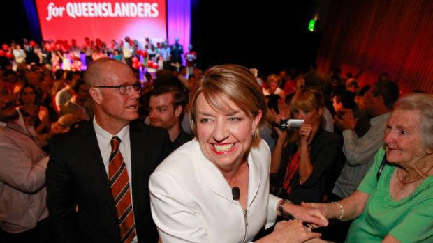 Anna Bligh and her husband Greg Withers at the Queensland ALP official campaign launch.