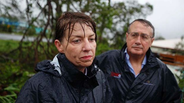 Then Queensland premier Anna Bligh and Deputy Prime Minister Wayne Swan inspect the damage caused by Cyclone Yasi in ...