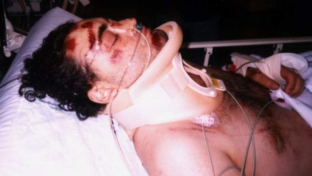 Confined to a wheelchair ... Jonathan Crowley after he was shot.