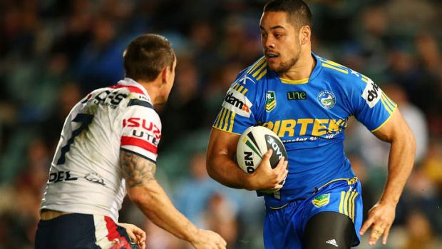 Casualty: Jarryd Hayne of the Eels runs the ball.