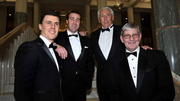 Night to remember: Hall of Fame inductees Matthew Lloyd, Scott West, Rick Davies and Royce Hart were honoured for their ...