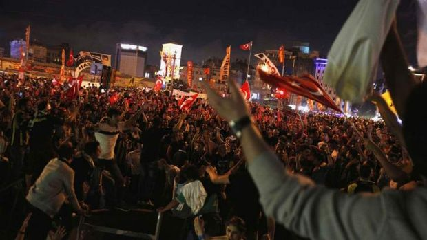 Packing the streets: Tens of thousands of protesters shout anti-government slogans during a demonstration at Taksim ...