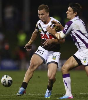 In limbo: Penrith's Matt Moylan, who is currently stuck in the NSW Cup, in action against the Melbourne Storm earlier ...
