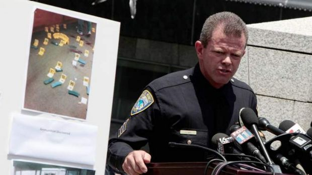 Santa Monica Public Information Officer Richard Lewis speaks to reporters regarding the shooting and releases photos of ...
