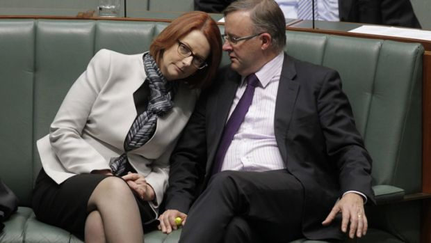 The piranhas are waiting ... Julia Gillard speaks to Anthony Albanese during question time.