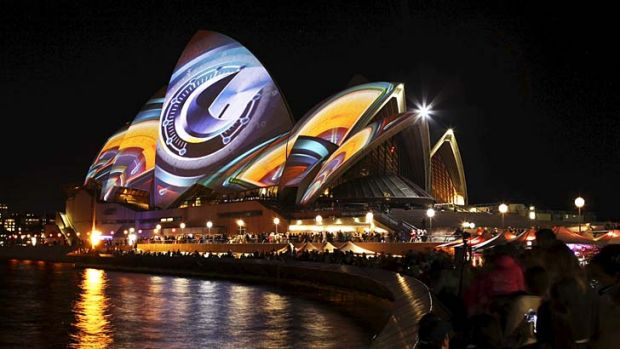 Bright nights: Opera House light installations were a popular drawcard for the Vivid festival.