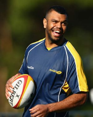 Happy man ... Kurtley Beale at a Wallabies training session.