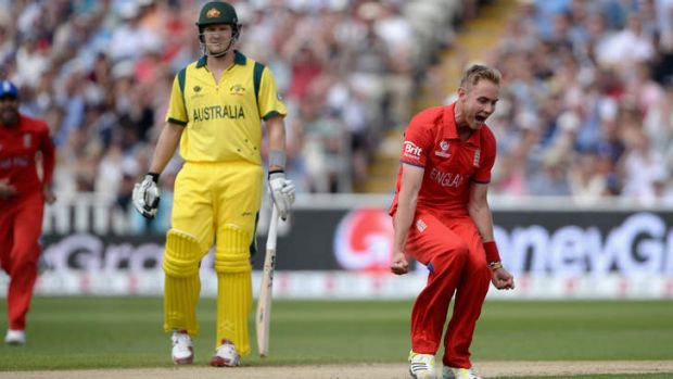 Early blow: England paceman Stuart Broad celebrates the wicket of David Warner.