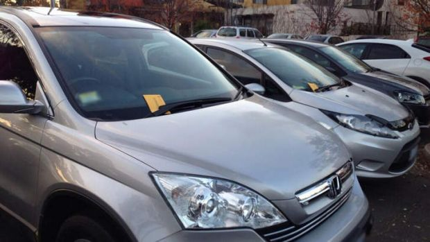 BOOKED: Some of the cars with infringement notices at Woden on Tuesday.