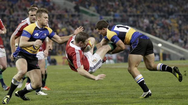 Brian O'Driscoll is dumped by Alex Gibbon.