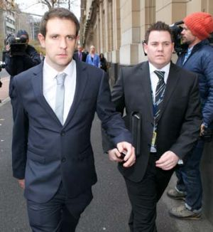 Husband: Tom Meagher arrives at the Supreme Court for Adrian Bayley's plea hearing.