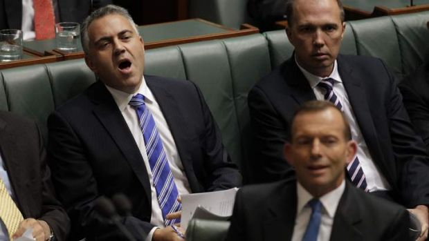 Julia Gillard has attacked the opposition as dominated by males with blue ties. Pictured from Parliament on Wednesday ...