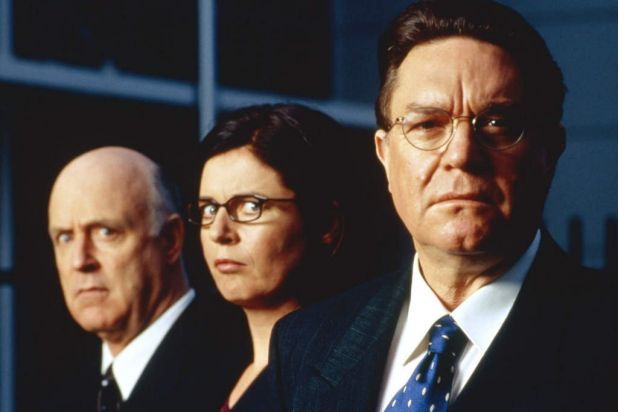 """From left: John Clarke, Gina Riley and Bryan Dawe of """"The Games"""", a razor-sharp satire of the 2000 Sydney Olympics."""