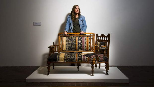 PROVOCATIVE: Michele Marti, above with ''Welcome to My Alpine'', transforms Victorian furniture into sensual pieces