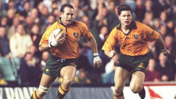 Invincible: David Campese on the attack.