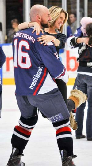 Matt and Sara Armstrong celebrate back-to-back Goodall Cup wins in 2011. They were married in Australia in 2012.