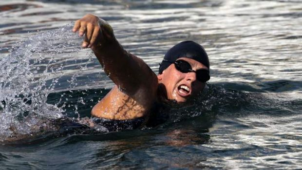 Beaten by a jelly fish sting: Australian long-distance swimmer Chloe McCardel.