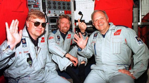Boy's own adventures … Branson with Per Lindstrand (at left) and the late Steve Fossett in the capsule of their hot-air ...