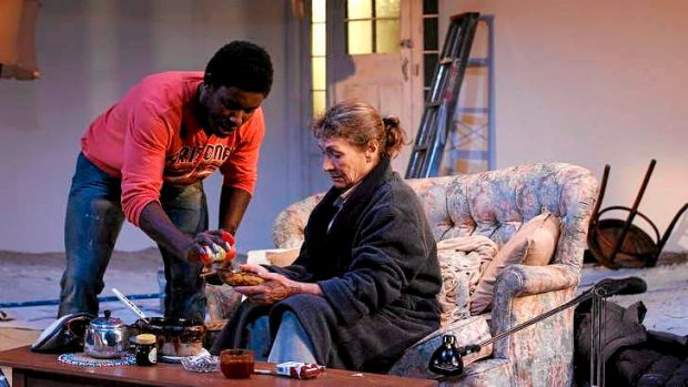 Pacharo Mzembe (Solomon) and Gillian Jones (Marion) in <i>Solomon and Marion</i>.
