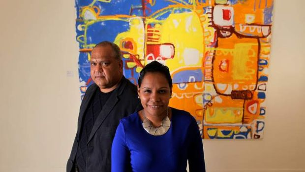 Naomi Hobson and Noel Pearson at the opening of her exhibition.