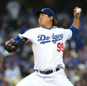 Pitching in: Hyun-Jin Ryu in action at Dodger Stadium on Wednesday.