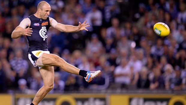 Still going strong: Chris Judd takes the field for his 250th game on Friday, against Hawthorn.