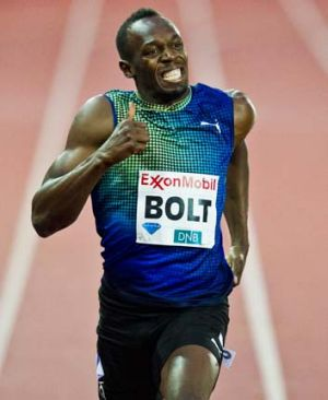 Usain Bolt gives the thumbs up as he wins the men's 200 m event during the Diamond League athletics competition in Oslo.